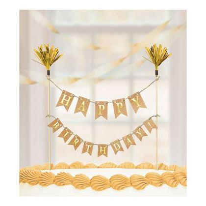Imagens de Decoração topo de bolo Happy Birthday dourado