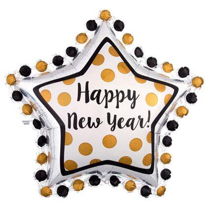 Imagens de BALÃO FOIL SUPERSHAPE ESTRELA HAPPY NEW YEAR