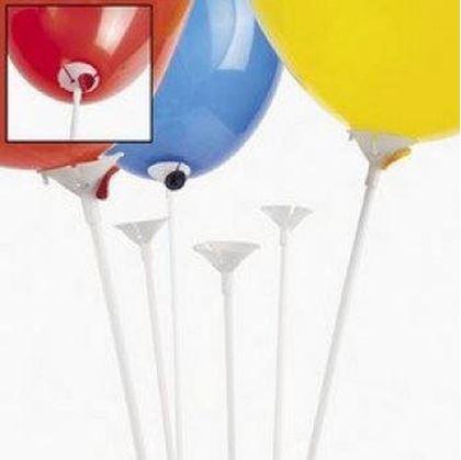 Imagens de 100 Suportes para balões plásticos 40 cm - Brancos (Varetas)
