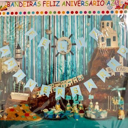 Imagens de BANDEIROLAS FELIZ ANIVERSÁRIO AZUL GLAMOUR