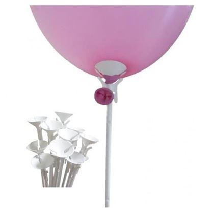 Imagens de 10 Suportes para balões plásticos 40cm de 1 peça - Brancos (Varetas)