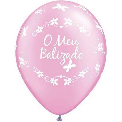 """Imagens de BALÃO """"O MEU BATIZADO"""" ROSA"""