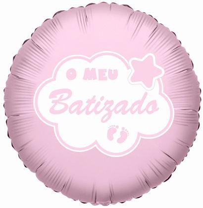 """Imagens de BALÃO FOIL 18"""" O MEU BATIZADO ROSA"""
