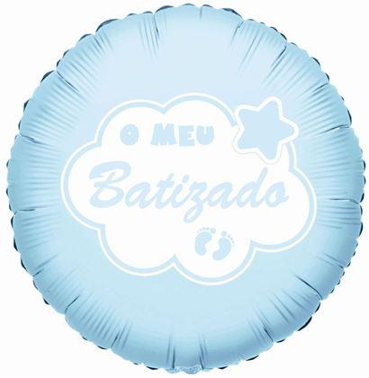 """Imagens de BALÃO FOIL 18"""" O MEU BATIZADO AZUL"""