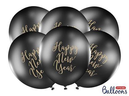 Imagens de SACO 5 BALÕES LÁTEX PRETO HAPPY NEW YEAR