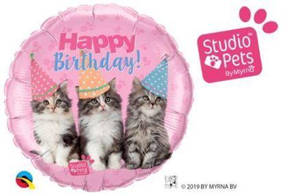 """Imagens de BALÃO FOIL 18"""" HAPPY BIRTHDAY GATOS STUDIO PETS"""