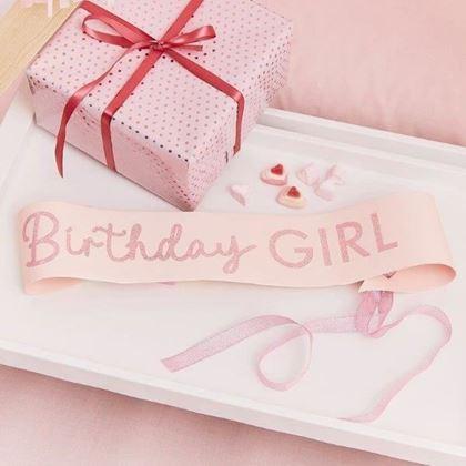 Imagens de FAIXA BIRTHDAY GIRL PINK GLITTER