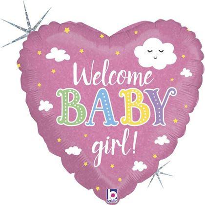 """Imagens de BALÃO FOIL 18"""" CORAÇÃO WELCOME BABY GIRL"""