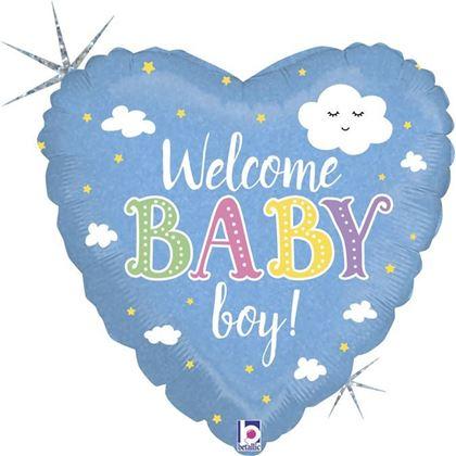 """Imagens de BALÃO FOIL 18"""" CORAÇÃO WELCOME BABY BOY"""