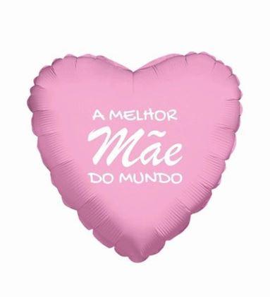 """Imagens de BALÃO FOIL 18"""" A MELHOR MÃE DO MUNDO ROSA-BRANCO"""