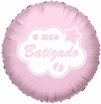 """Imagens de BALÃO FOIL 18"""" O MEU BATIZADO - ROSA"""